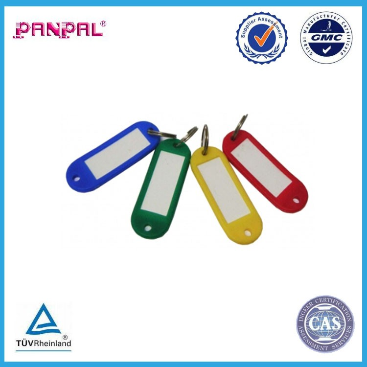 hot selling zip lock polybag package plastic cover colorful key tag rings with steel ring