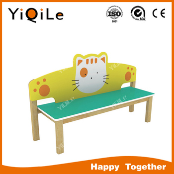 Little cat design kids wooden bench