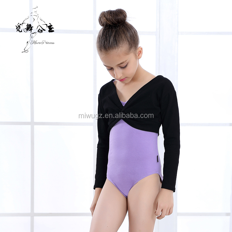Kids Long Sleeve Knot Corset Ballet Dance Tops For Girls