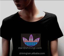 LED/ EL USA Flag Sound Activated Flashing T Shirt ,animated el panel t shirt, el light up t shirt
