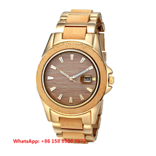 Fashion Japan quartz movement 316L stainless steel and bamboo case with stainless steel and wood strap waterproof watches FS843