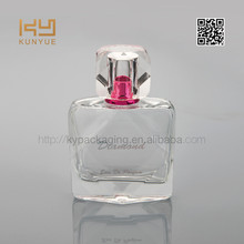 diamond shaped perfume bottle with colourful printing