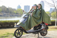 Fashion long pvc rain coat waterproof rain poncho bike double poncho