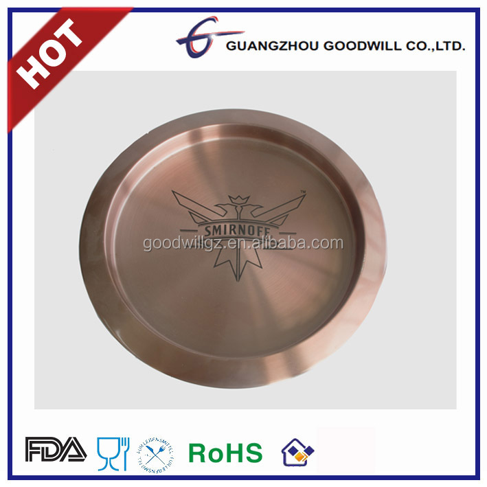 Hot CE/FDA Safe Anti-slip Copper Stainless Steel Round Bar Tray