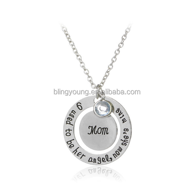 Custom delicacy engraved circle father and mother family gift mom necklace