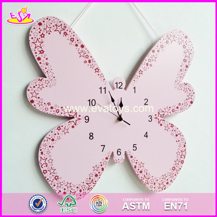 2017 New design pink butterfly wooden wall clock W09D019