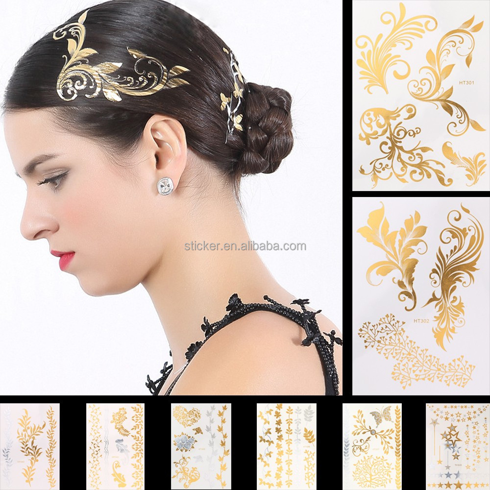 Gold Silver Flash Metallic Temporary Tattoo Stickers Sexy Product Women Hair Arm Sleeve Body Art Jewelry Decals