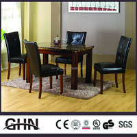 Big size rectangle black wooden and stone table modern dining room table set