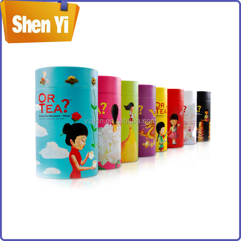 Customized paper tea canister round tea storage canisters