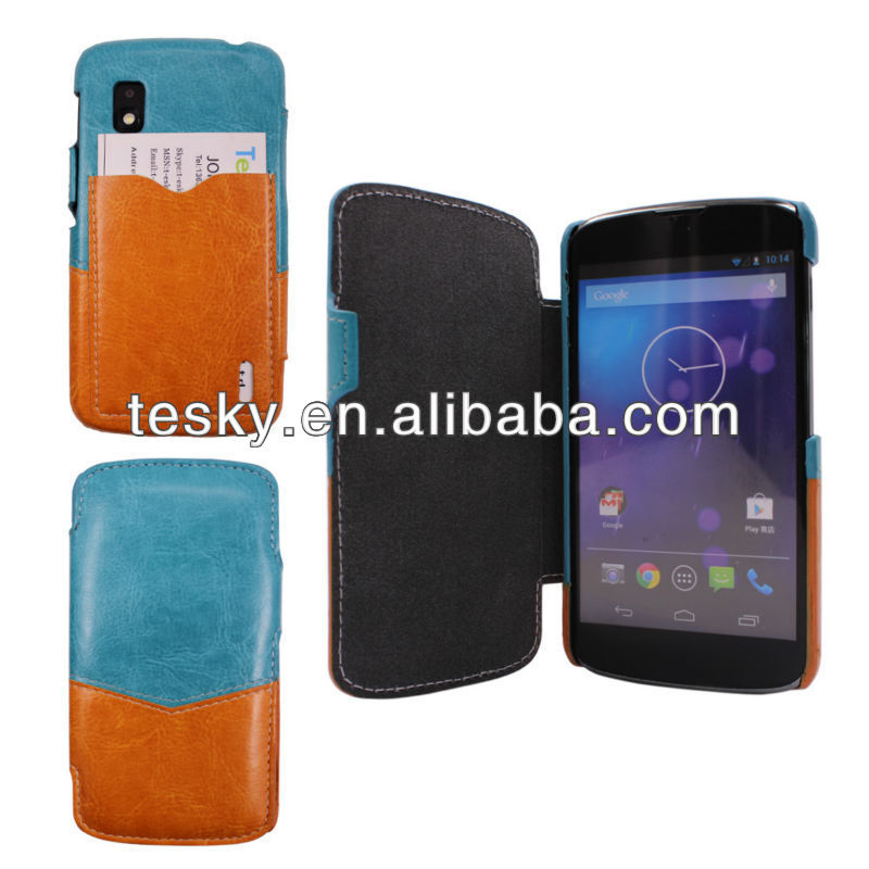 PU LEATHER CARRY COVER FLIP CARD SLOT FOR LG E960 NEXUS 4 IN CRAZY HORSE GRAIN AND CONTRAST COLOR