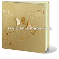 engagement invitation card with gold stamping butterfly and flowers