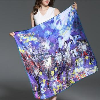 2018 wholesale women 100cm*100cm digital print satin square chinese silk scarf