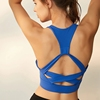 Women's Dri Fit Racerback Gym Sports Yoga Tops with Built in Pads
