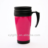 Portable customized logo printing coffee tumbler insulated plastic double wall takeaway coffee cups