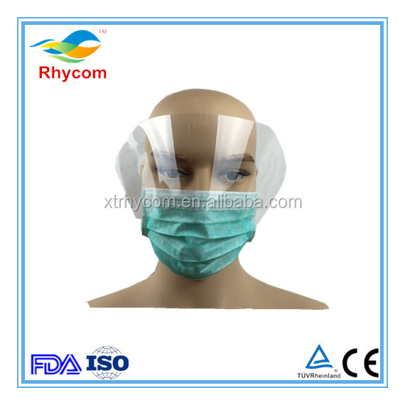 Disposable PP Plastic non woven anti fog transparent clear film protection face shield face mask