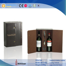 manufacturing crocodile recycled bottle leather gift wine box/case