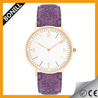 New Vogue Style Sapphire Glass Wool Tweed Strap Quartz Watch for lady