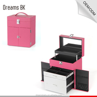 Fushia professional small portable pvc makeup cosmetic storage case jewelry organizer box with mirror