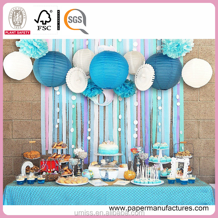 Blue Beach-Themed Party Paper Crafts Decoration Set for Wedding Birthday Baby Shower