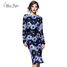 MaxNegio Fashion Superior 3 D Embroidey Lace Designs Long Sleeve Knee Length Bodycon Evening Dress