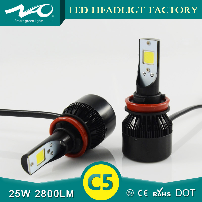 ILIGHT Factory Supply Automobile&Motorcycles C5 Car Led Headlight H8 H9 H11 H4 H13 9004 9007 LED Headlights