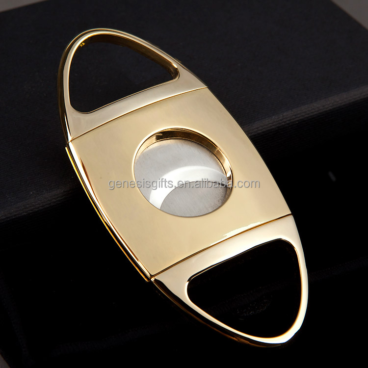Customized logo Luxury High End Golden Metal Cigar Cutter Outdoor Travelling Accessories