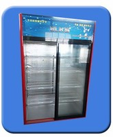 Glass door refrigerated produce beverage display coolers triple doors display fridge