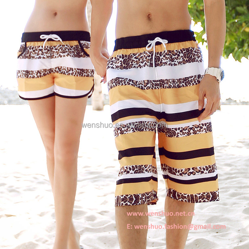 2016 Hot Sale Fritillary Couples Polyester Beach Shorts