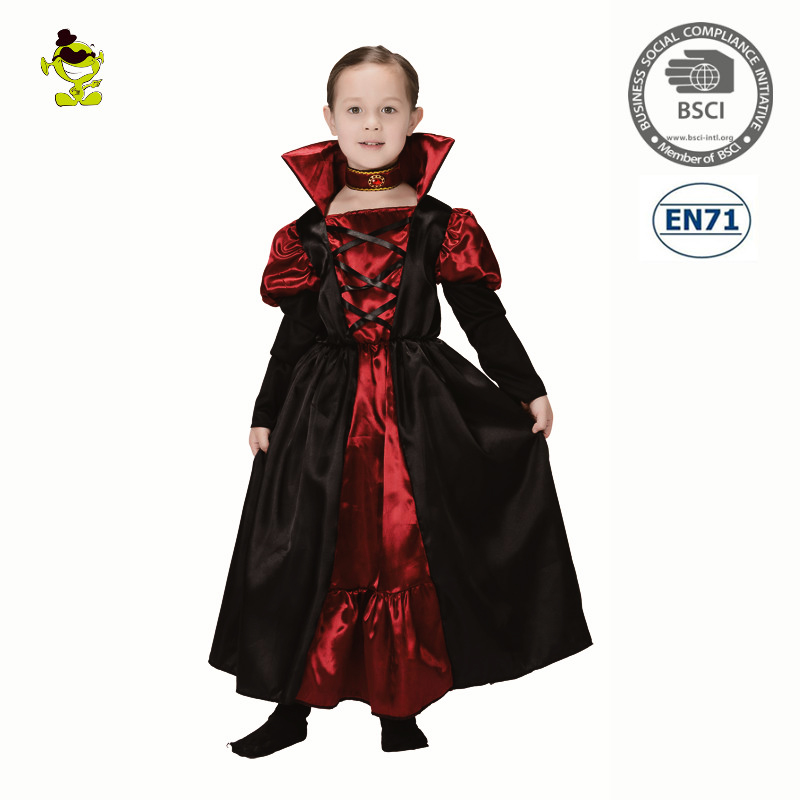 High Quality Kids-Vampire Girl Costume Halloween Party Rerto Queen Princess Cosplay Dress For Children Girls