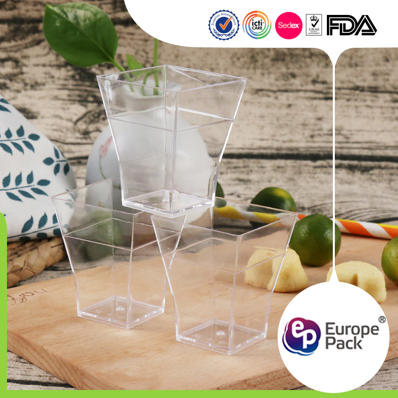 EPK Disposable Mini Cube Clear Jelly Dessert Cups Square for sale