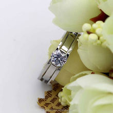 Latest design round stone couple reinforcement stainless steel jewelry ladies gold finger ring