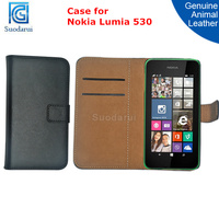 For Nokia Lumia 530 Genuine Leather Case Card Slots Pouch Cover
