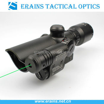 Tactical compact 1.5-5X32 riflescope red/green illuminated Mil-Dot Reticle with side attached green laser scope combo