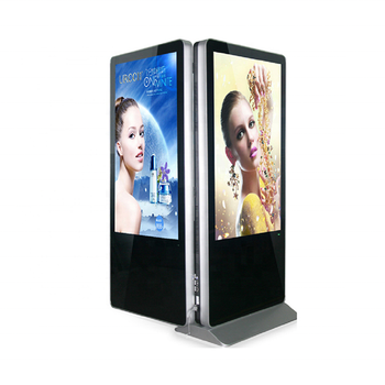 "43"" Dual screen commercial floor stand advertising equipment Android wifi capacitive touch indoor AD player digital signage"