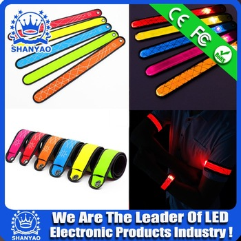 Led snap bracelet led slap wristband flash band