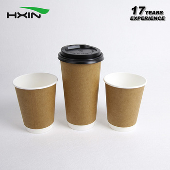 4-24oz Custom disposable kraft double wall paper cup for coffee