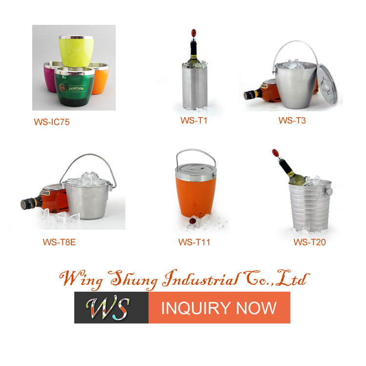 WS-IC148 Double wall plastic outter wall stainless steel ice bucket/wine bottle cooler 13.5Oz