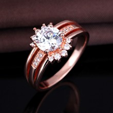 2017 Wholesale Rose Gold Plating 3A Zircon Ring Set For Gift