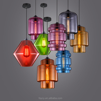 Modern Hand Blown Glass Pendant Lights coloful eidison dining room buld hanging lamp