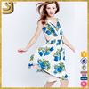 2016 New fashion unique fitted women print blue floral v-neck dress