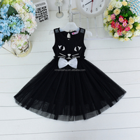 Wholesale fashion halloween cosplay black cat party dress for children
