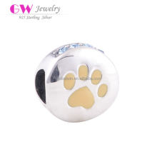 Paw Print 925 Sterling Silver DIY Charms With Purple Enamel Fit All Brands