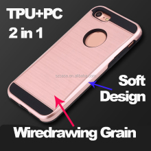 Wire drawing Grain hard strong mobile phone case for Iphone 7,2 in 1 soft tpu pc cell phone case for iphone 7 plus