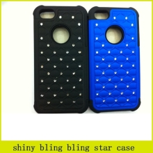 HOT,shiny bling star heavy duty case for iphone 5s combo 2 in 1 case