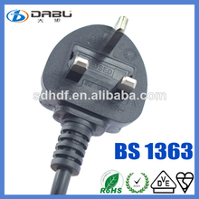 UK 3 square pin plug with BS approval