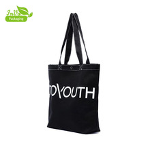 Wholesale promotional custom printed plain eco recycled organic black canvas tote bag