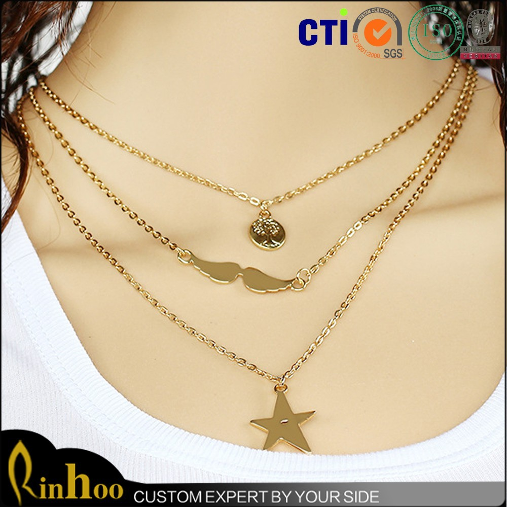 Multi element star angel wings trees charms chain necklace,multilayer gold chain necklace, new model necklace chain