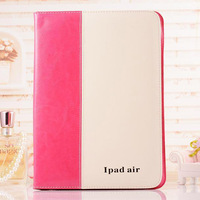 Contrast color pu for leather ipad air 2 case with stand holder