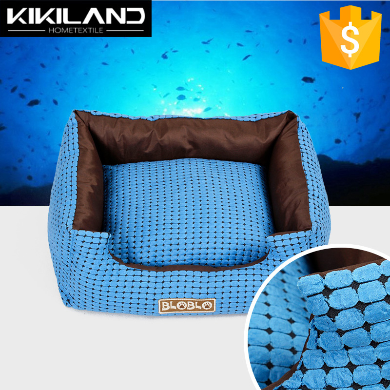 Marine Blue Comfortable Micro Suede Fabric Dog Bed