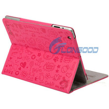 Magnetic for Apple iPad 2 Leather Case Cover Stand Cute Graffiti fairy